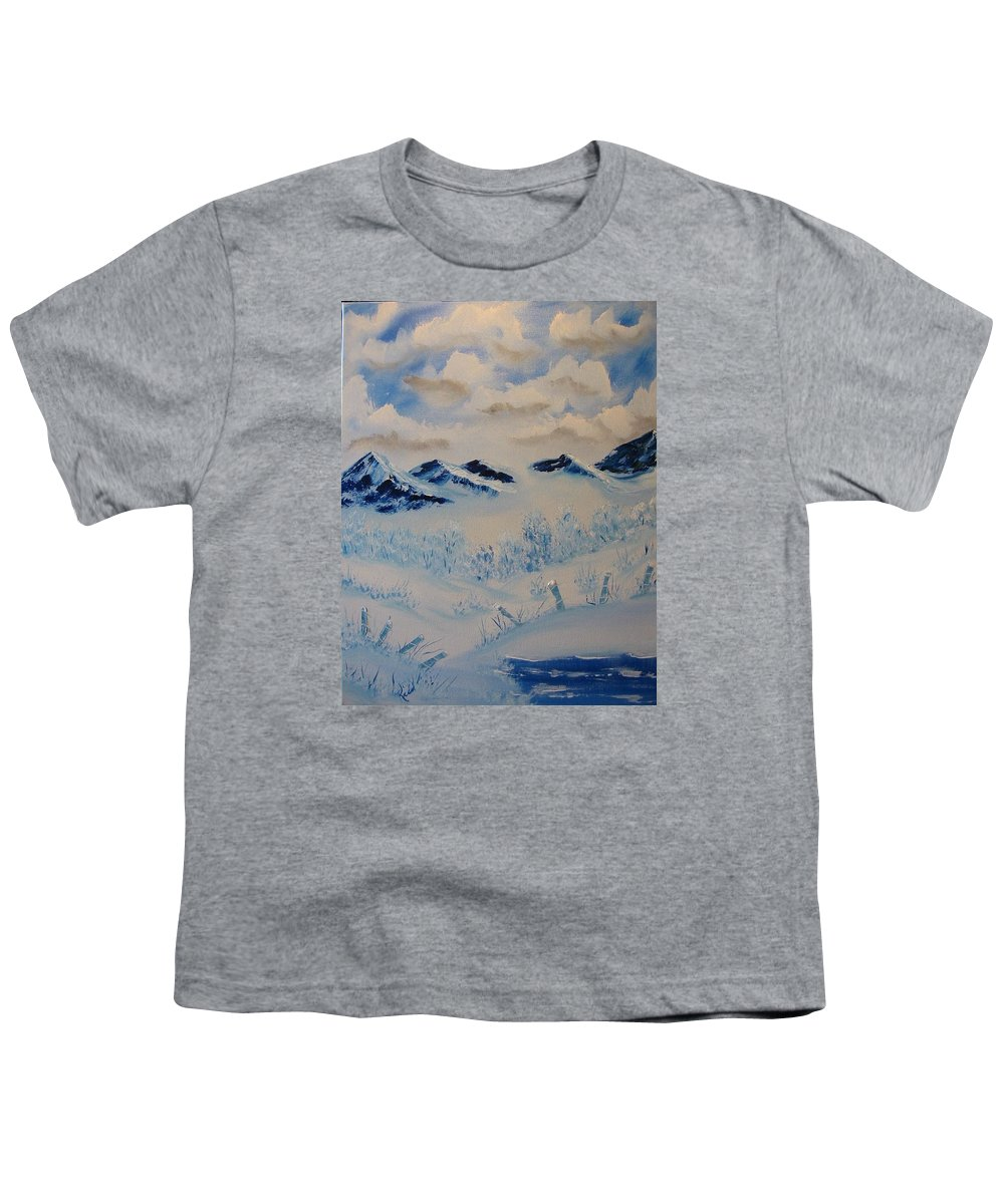 Blue Youth T-Shirt featuring the painting Many Valleys by Laurie Kidd