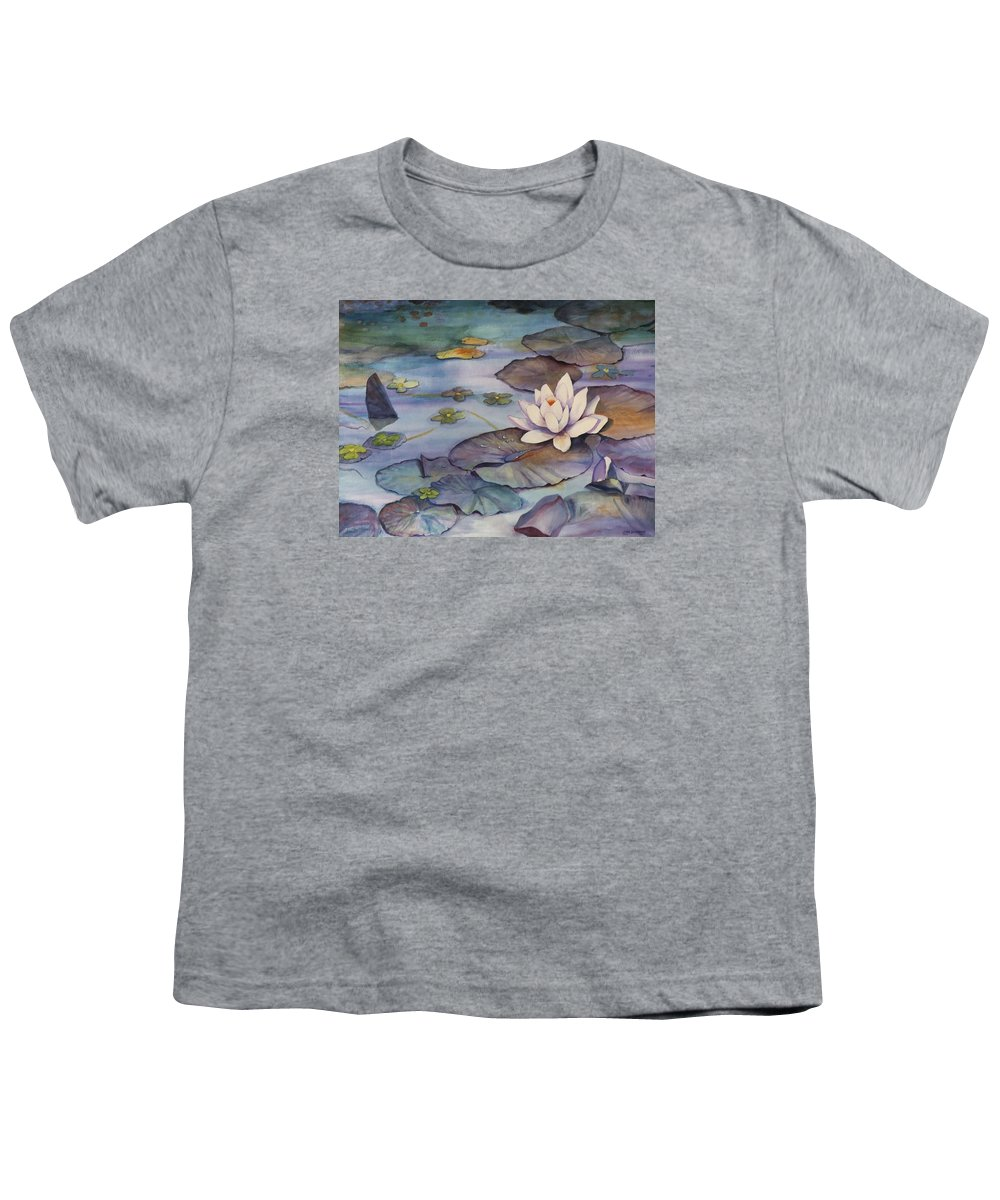 Lily Youth T-Shirt featuring the painting Midnight Lily by Jun Jamosmos
