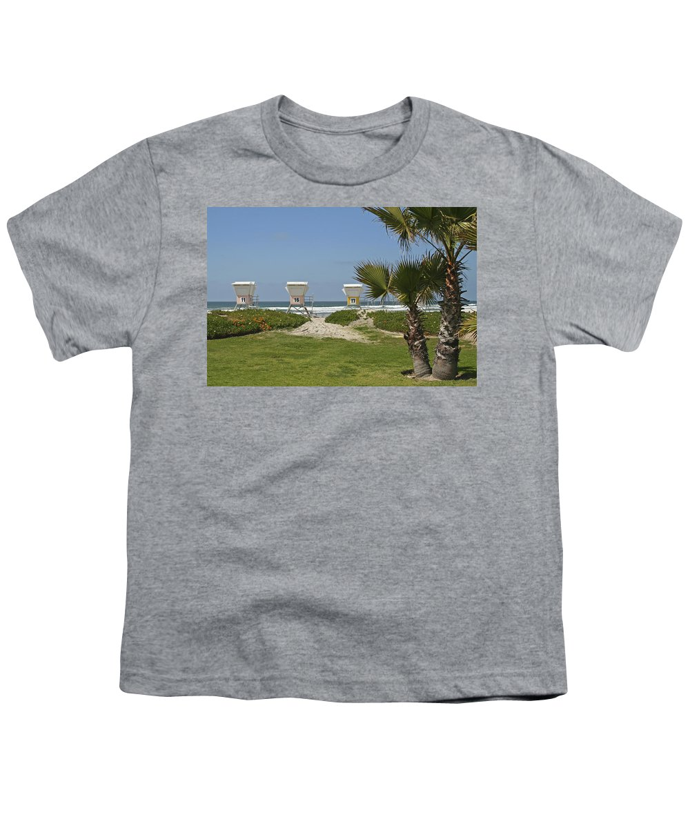 Beach Youth T-Shirt featuring the photograph Mission Beach Shelters by Margie Wildblood