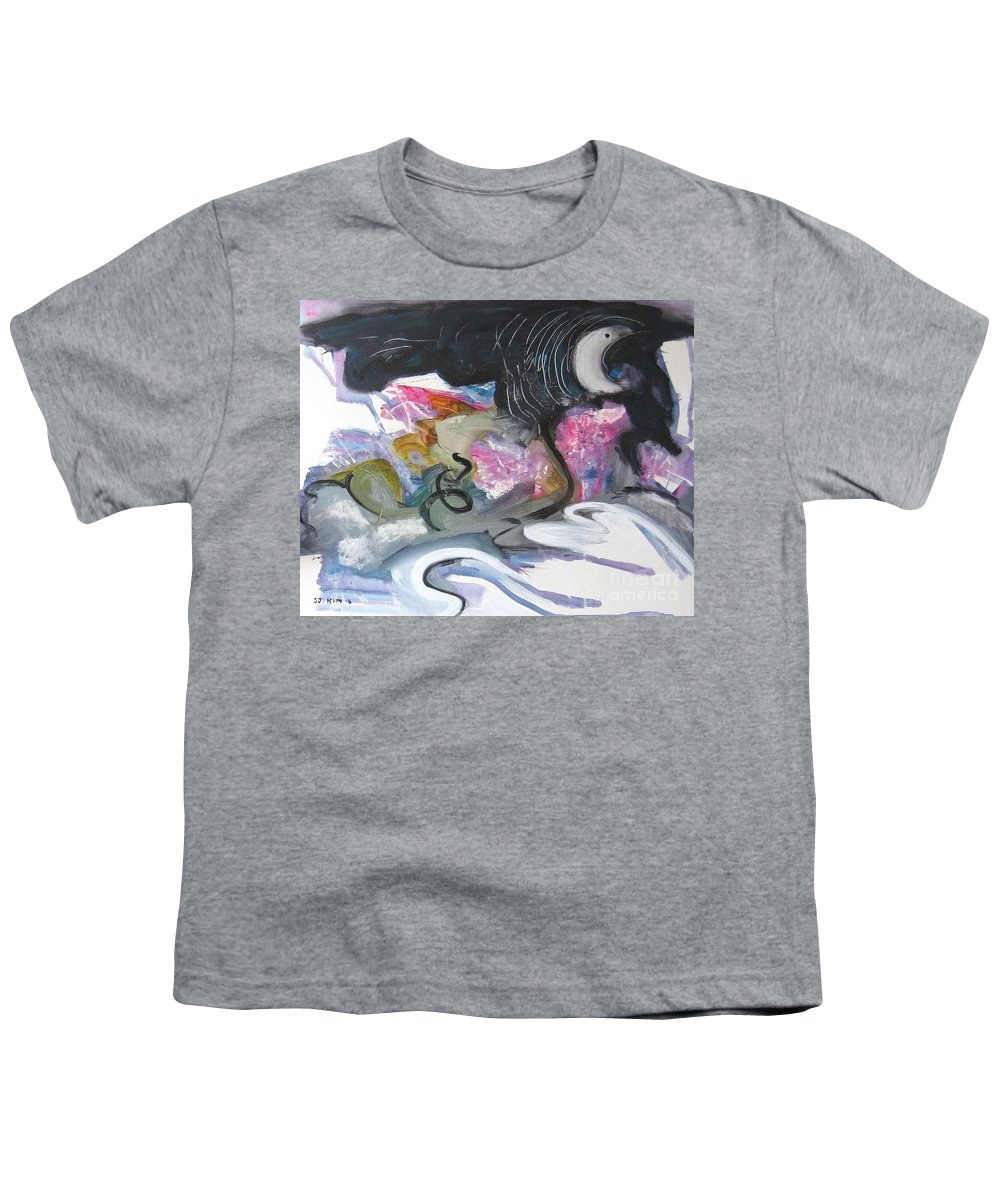 Abstract Paintings Youth T-Shirt featuring the painting Moonlight Fever by Seon-Jeong Kim