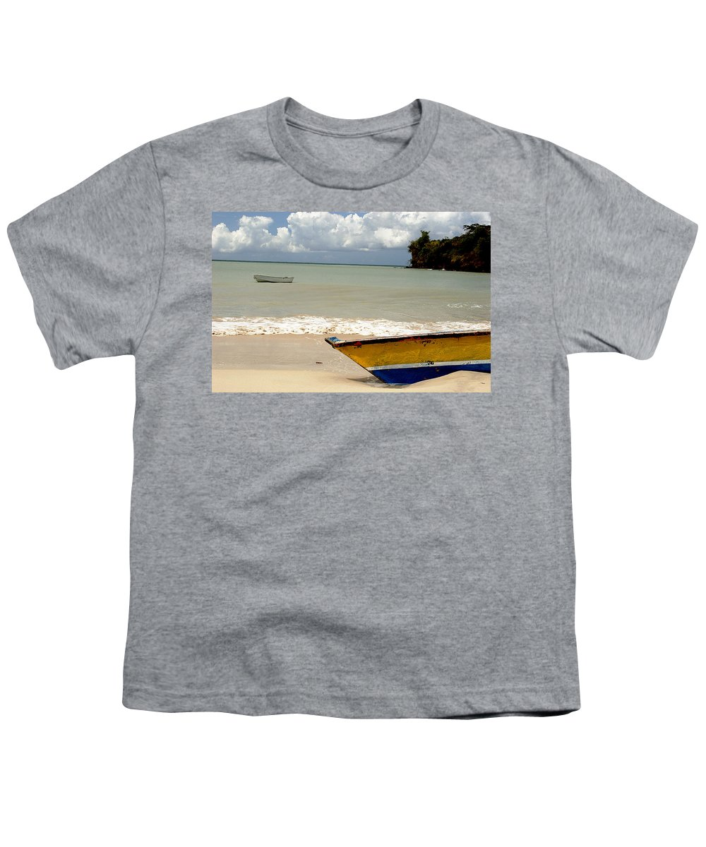 Boat Youth T-Shirt featuring the photograph Morne Rouge Boats by Jean Macaluso