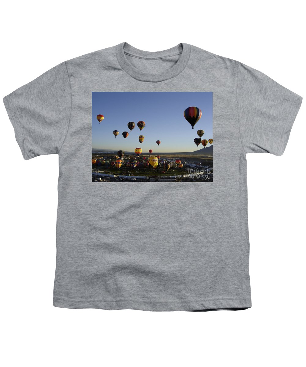 Hot Air Balloons Youth T-Shirt featuring the photograph Morning Liftoff by Mary Rogers