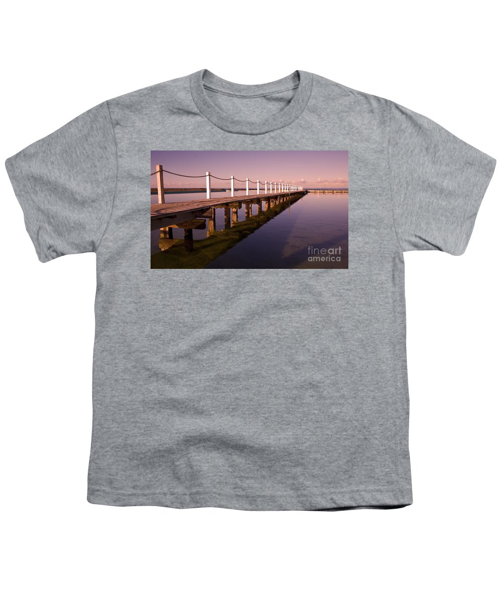 Narrabeen Sydney Sunrise Wharf Walkway Youth T-Shirt featuring the photograph Narrabeen Sunrise by Sheila Smart Fine Art Photography