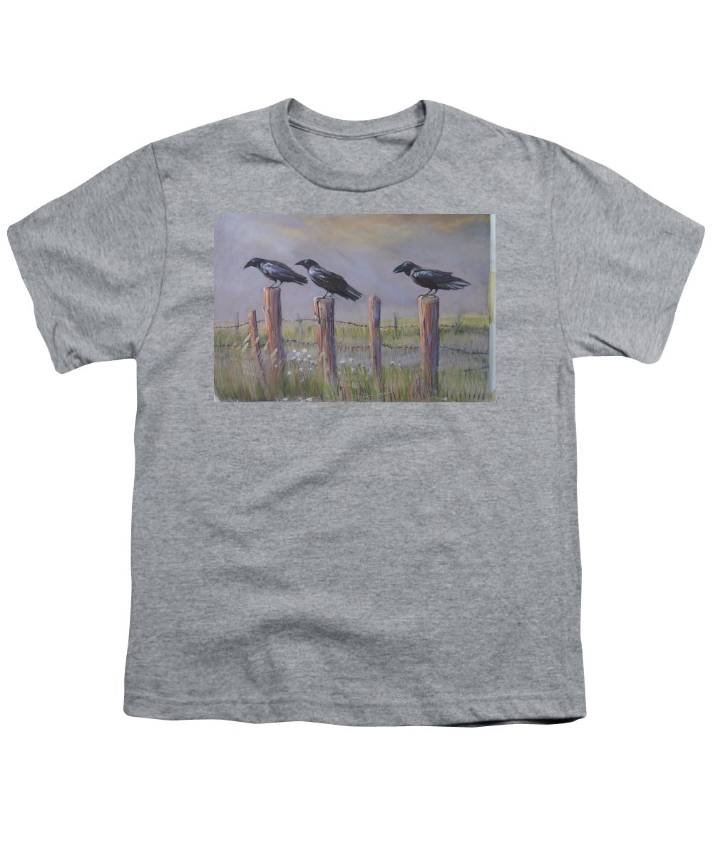 Crows Youth T-Shirt featuring the painting Neighborhood Watch by Heather Coen