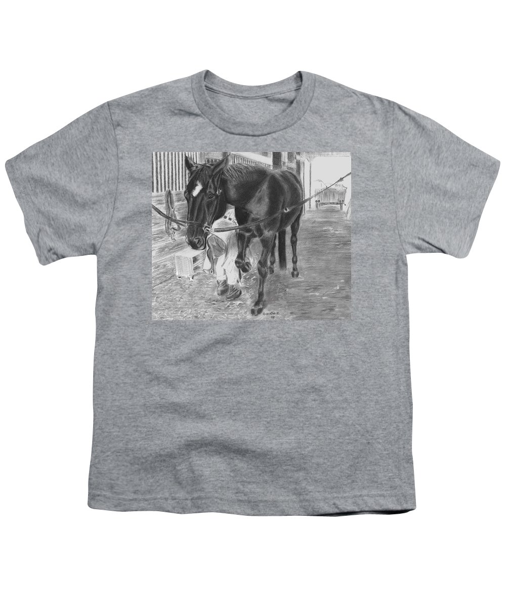 Horse Youth T-Shirt featuring the drawing New Shoes by Quwatha Valentine
