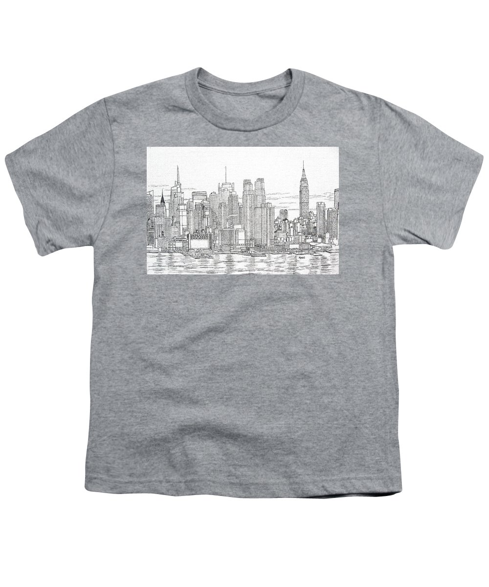 New York City Skyline Youth T-Shirt featuring the drawing New York City - Manhattan Skyline by Mike Rabe