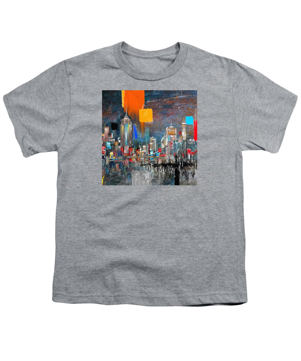 New York Skyline Youth T-Shirt featuring the painting New York Skyline 198 1 by Mawra Tahreem