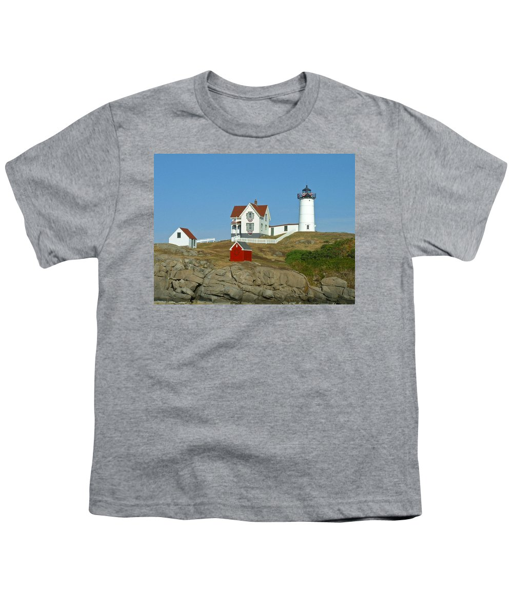 Nubble Youth T-Shirt featuring the photograph Nubble Light by Margie Wildblood