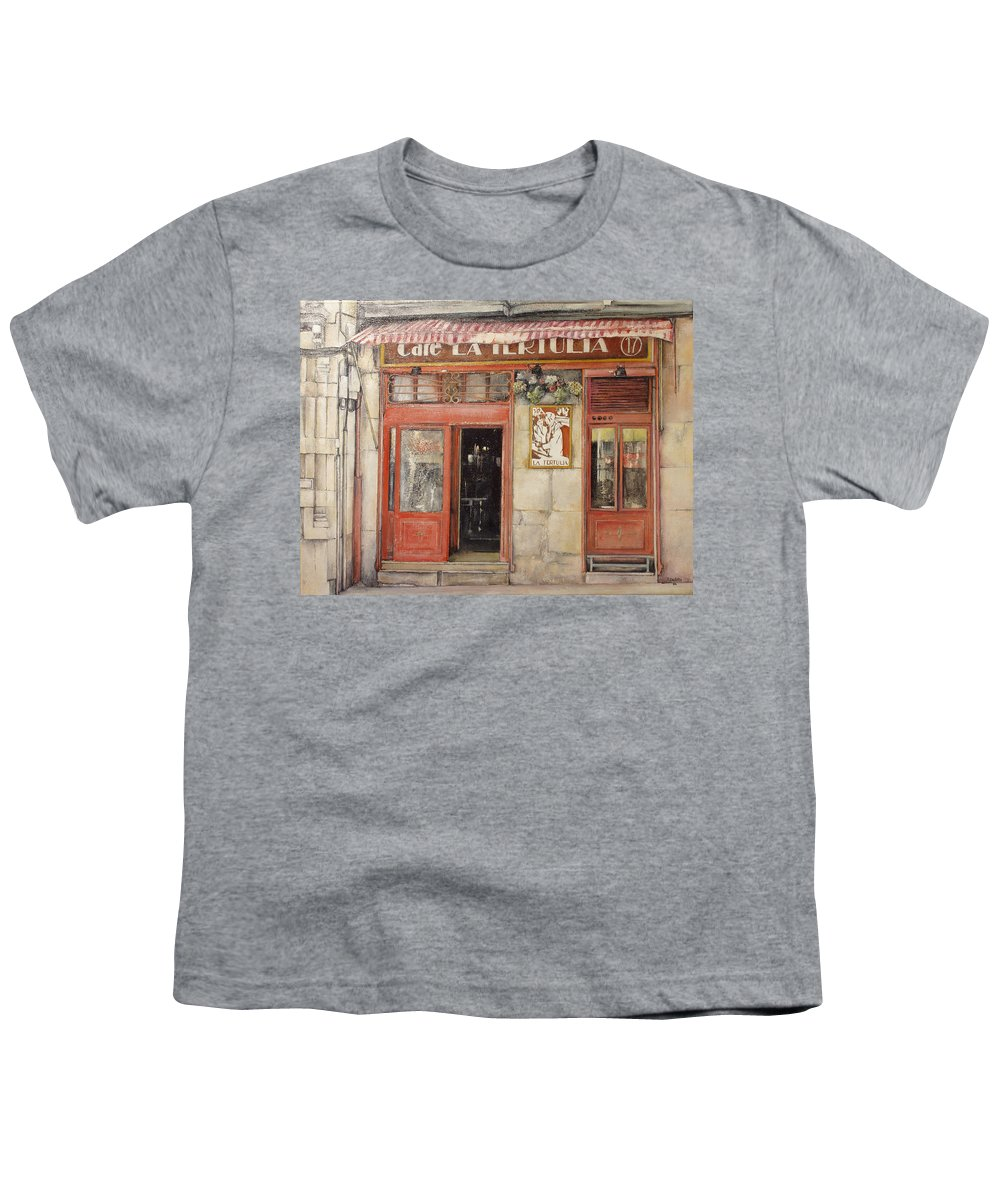 Cafe Youth T-Shirt featuring the painting Old Cafe- Santander Spain by Tomas Castano
