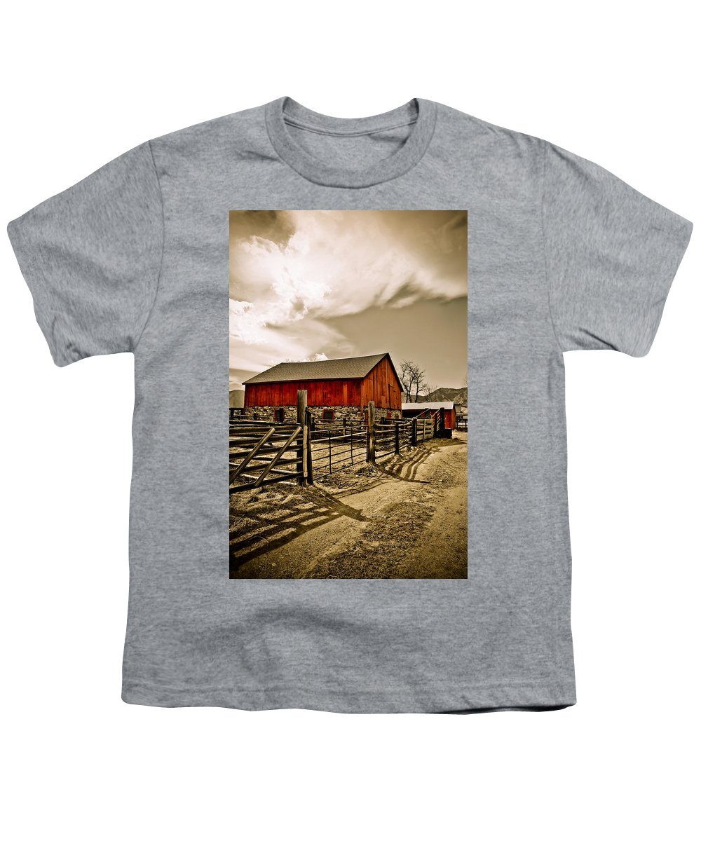 Americana Youth T-Shirt featuring the photograph Old Country Farm by Marilyn Hunt
