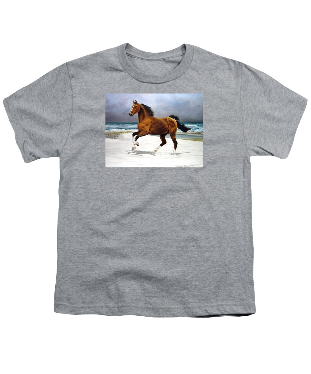 Horse Youth T-Shirt featuring the painting On The Beach by Marc Stewart