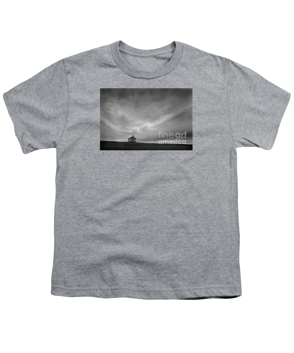 Landscape Youth T-Shirt featuring the photograph One Room Schoolhouse by Michael Ziegler