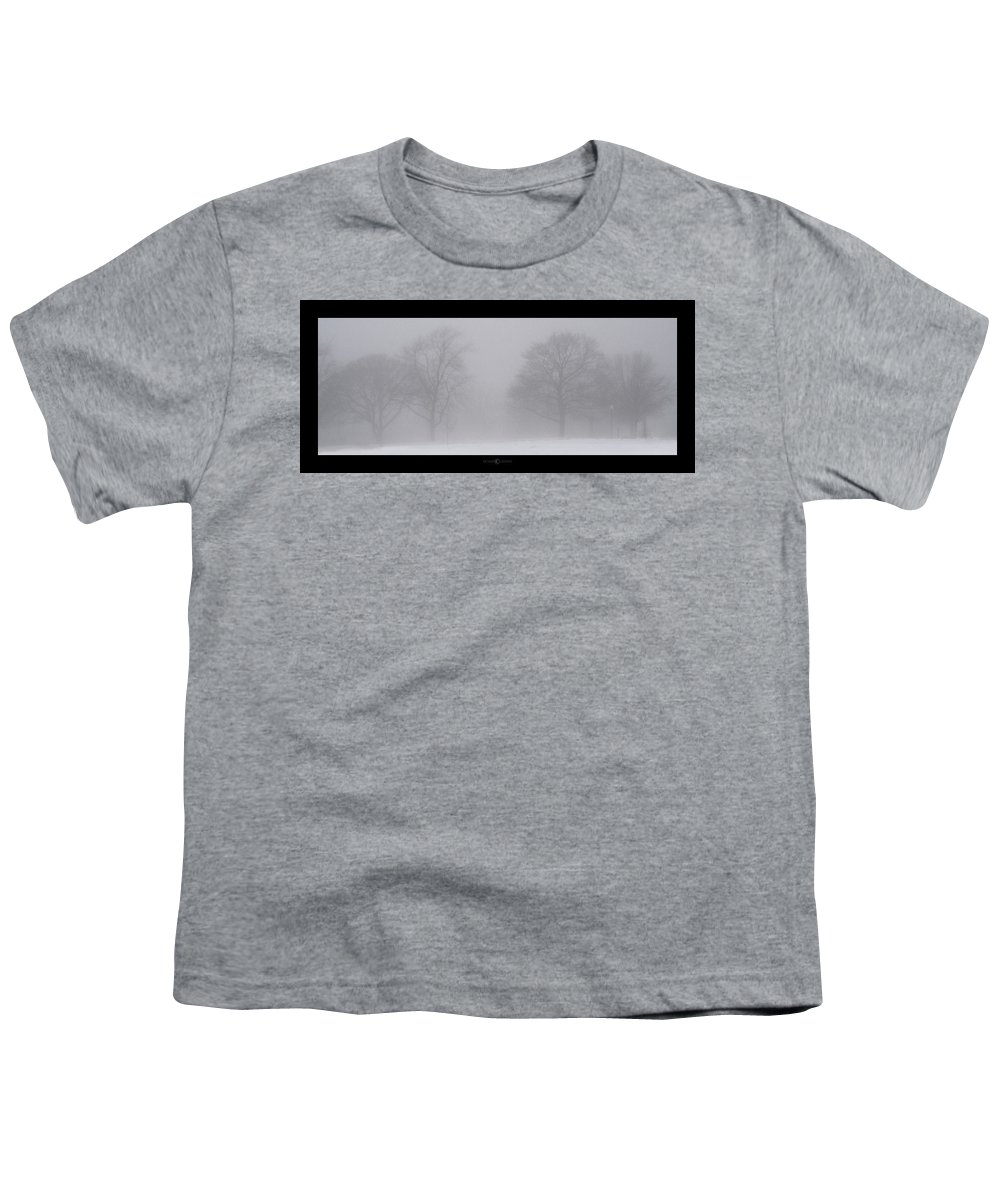 Fog Youth T-Shirt featuring the photograph Park In Winter Fog by Tim Nyberg