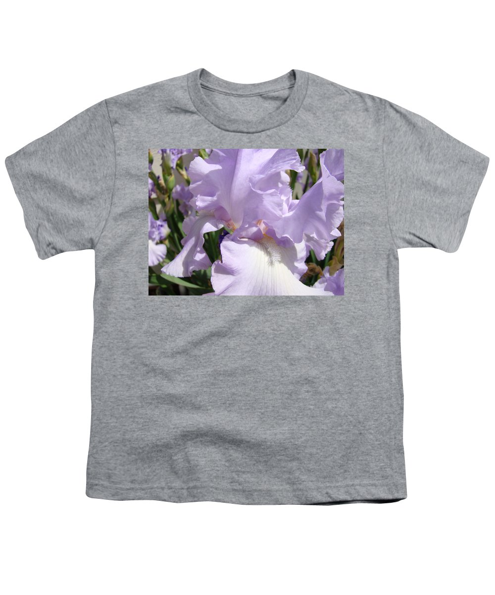 �irises Artwork� Youth T-Shirt featuring the photograph Purple Irises Artwork Lavender Iris Flowers 13 Botanical Floral Art Baslee Troutman by Baslee Troutman