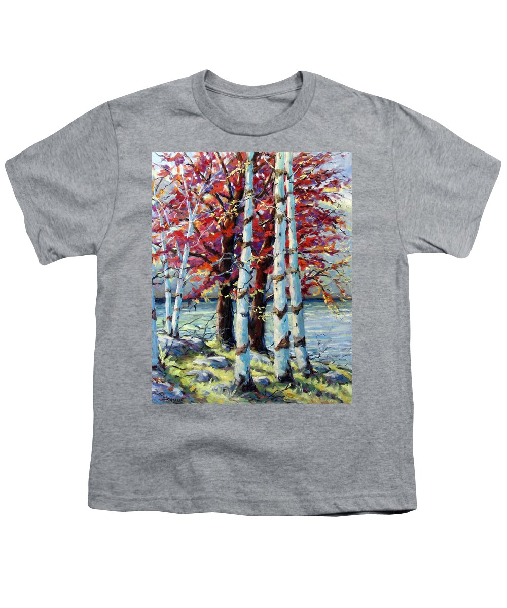 Birches Youth T-Shirt featuring the painting Red Splash by Richard T Pranke