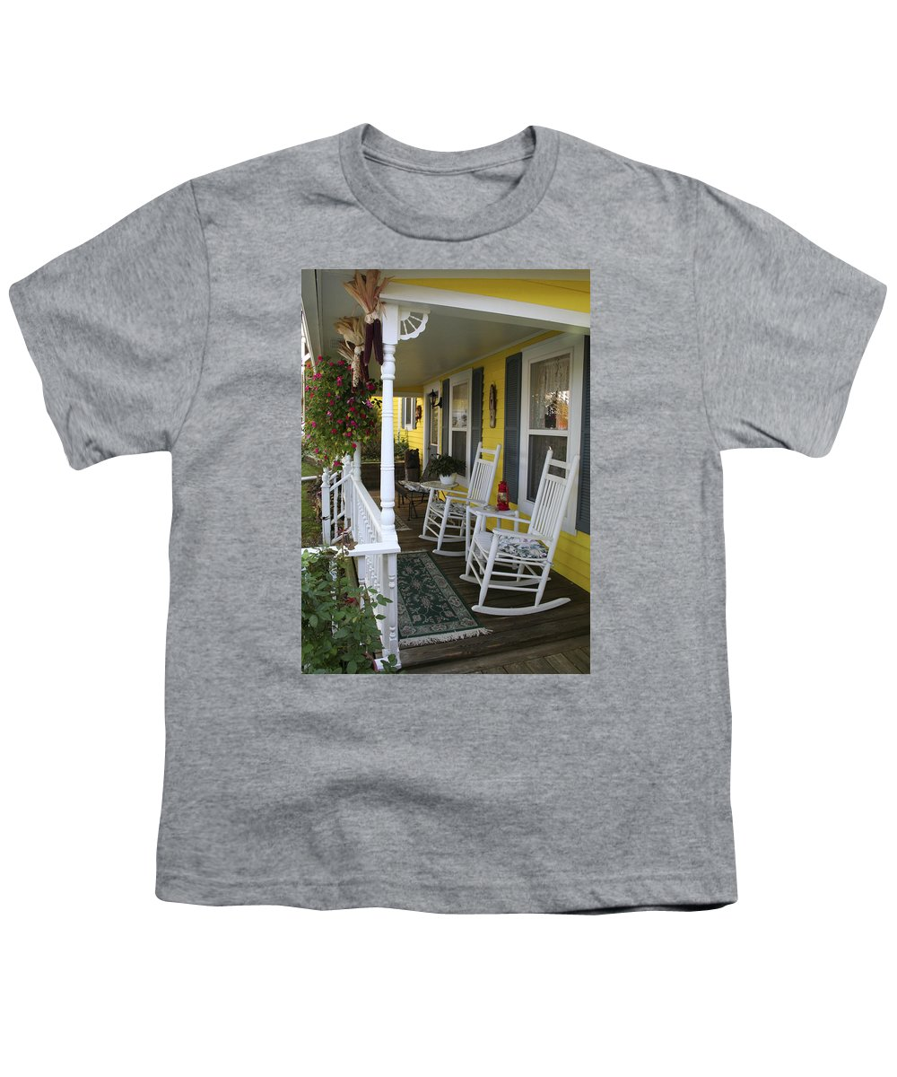 Rocking Chair Youth T-Shirt featuring the photograph Rockers On The Porch by Margie Wildblood