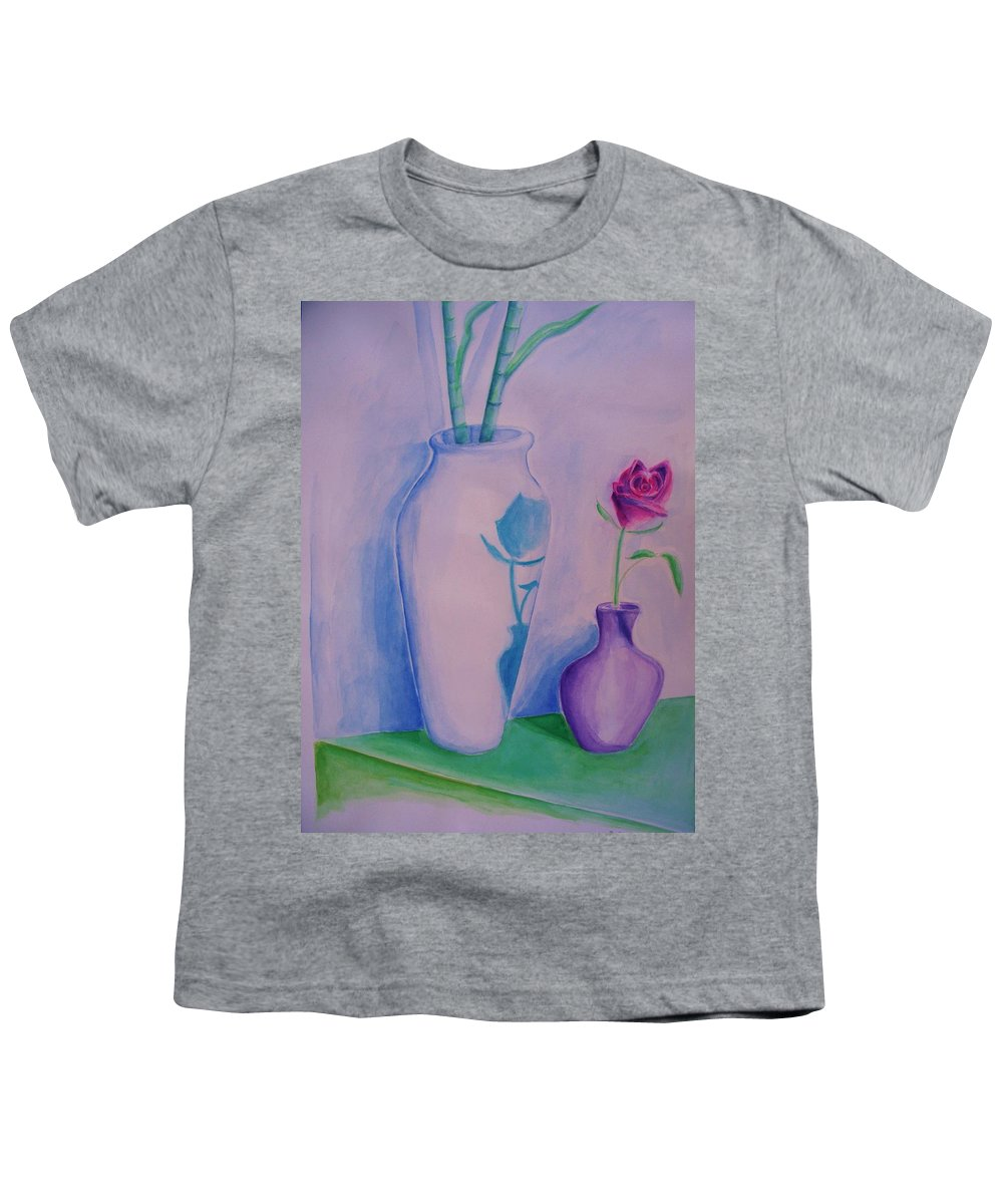 Red Rose Youth T-Shirt featuring the painting Roses In Vase by Eric Schiabor