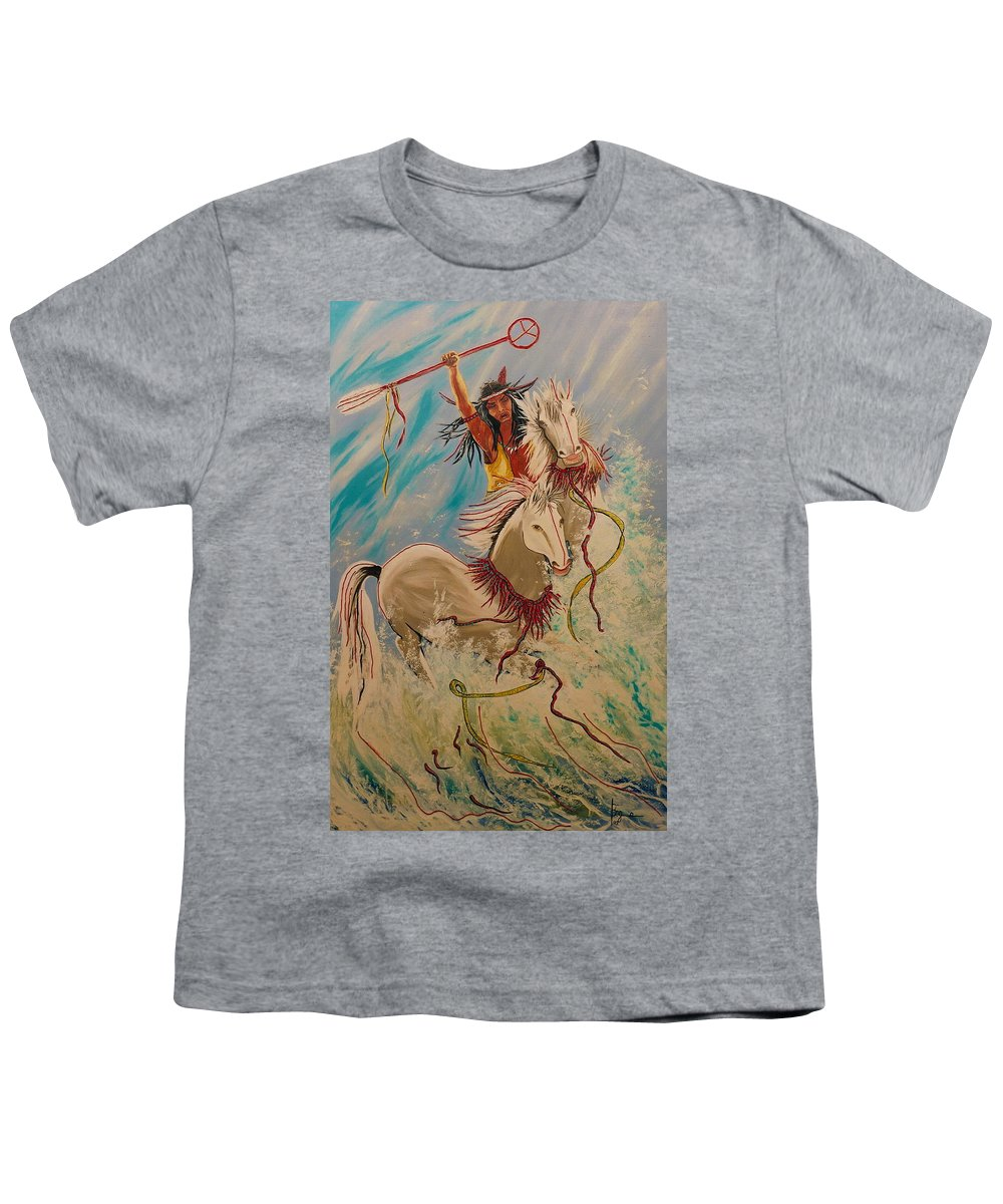 Horses Youth T-Shirt featuring the painting Scream Of Peace by V Boge
