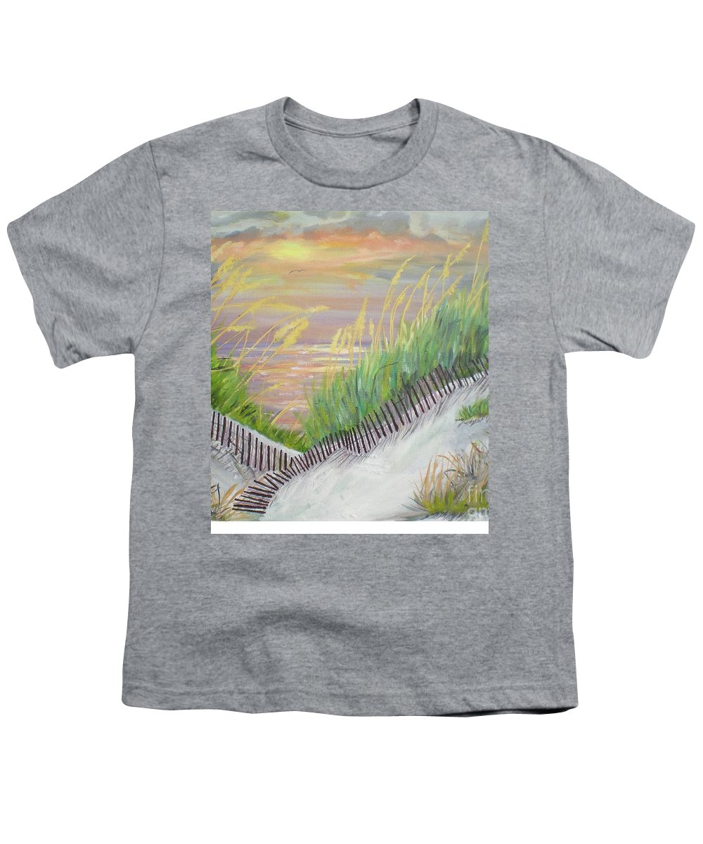 Seascape Youth T-Shirt featuring the painting Sea Oats by Hal Newhouser