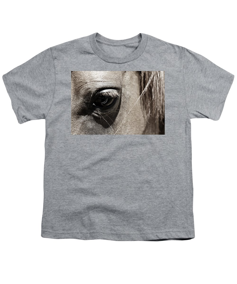 Americana Youth T-Shirt featuring the photograph Stillness In The Eye Of A Horse by Marilyn Hunt