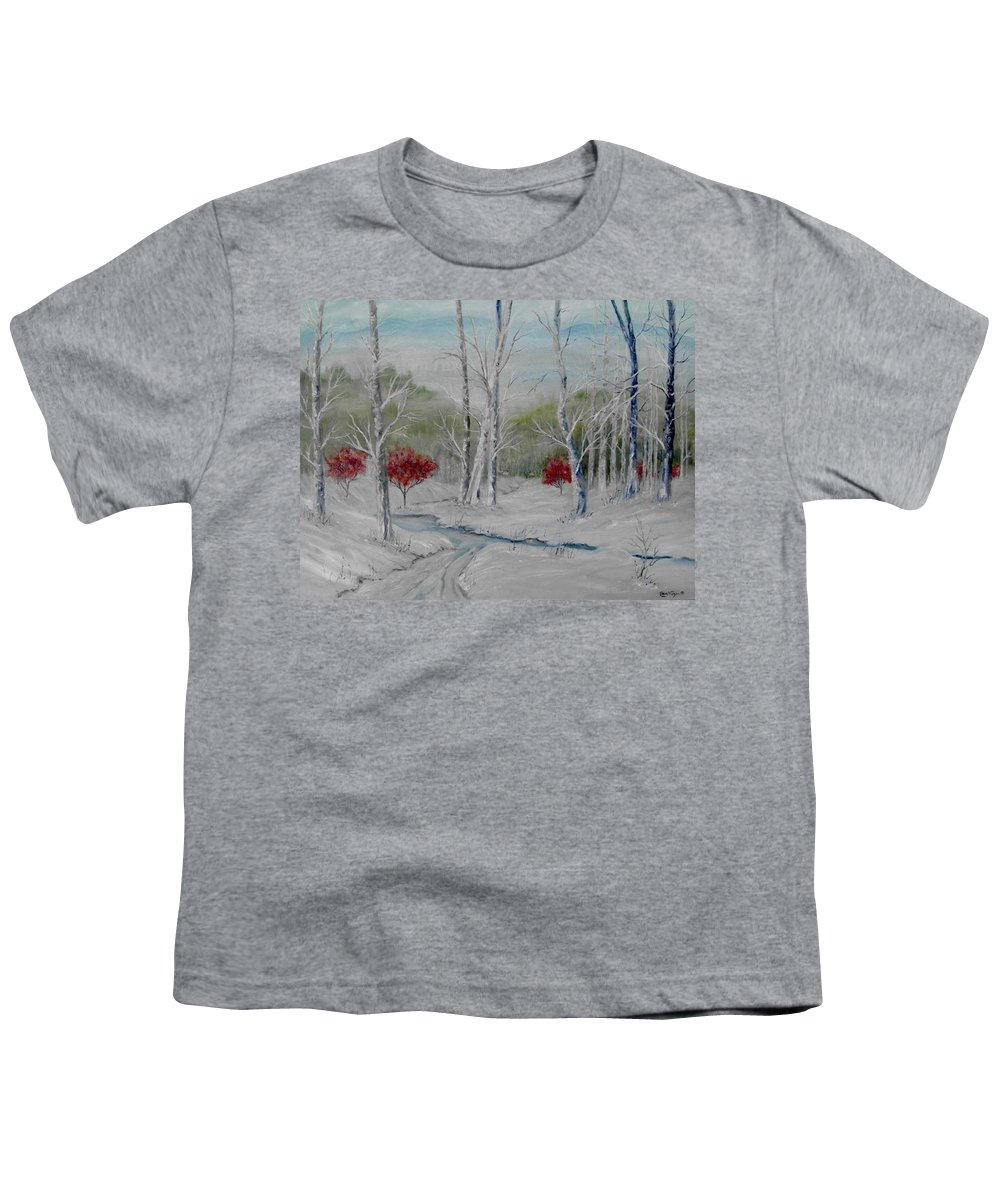 Snow; Winter; Birch Trees Youth T-Shirt featuring the painting Silence by Ben Kiger