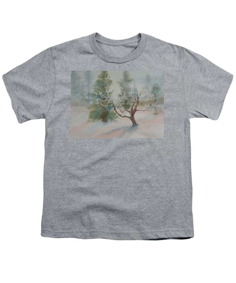 Snow Youth T-Shirt featuring the painting Silence by Ruth Kamenev