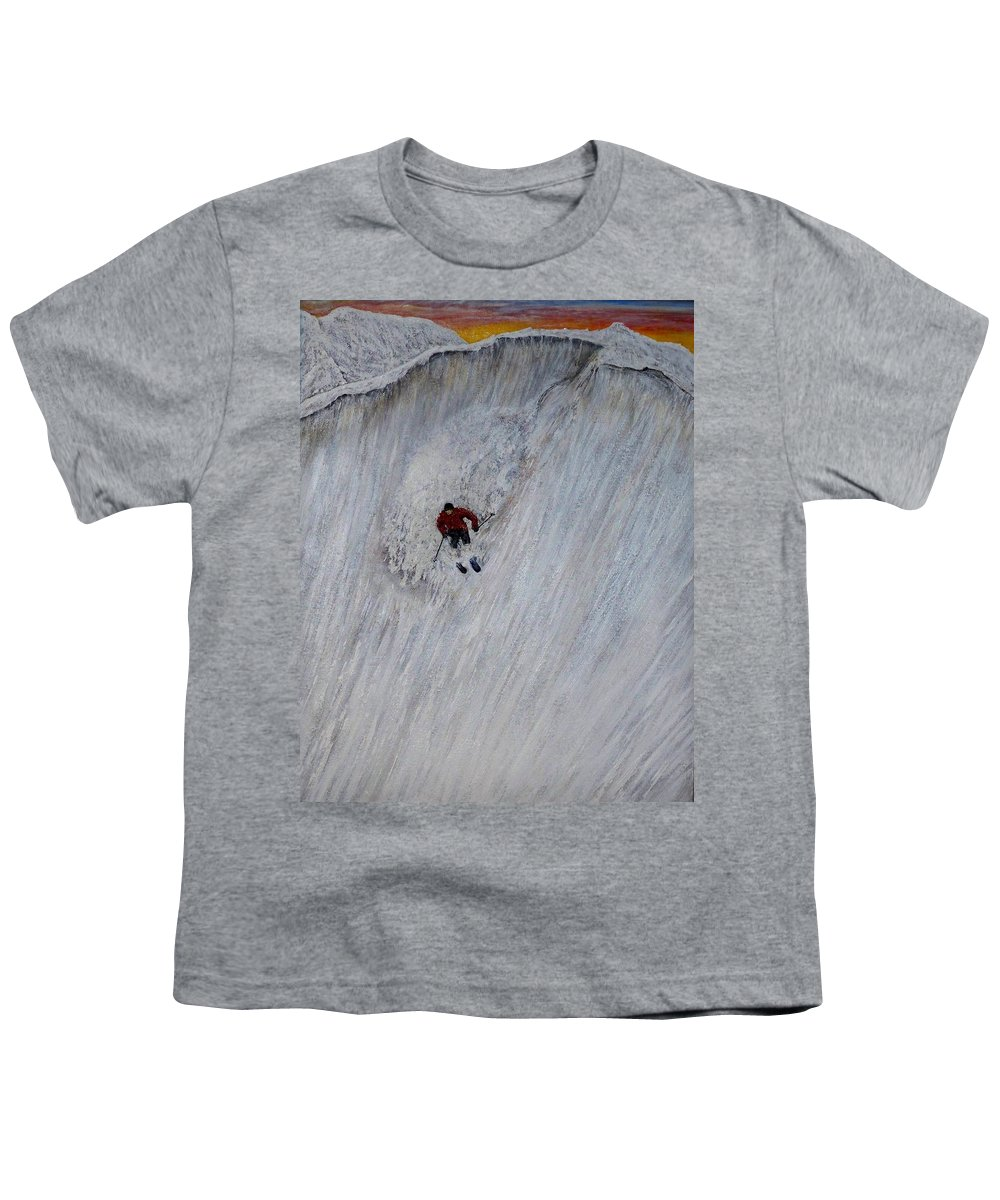Landscape Youth T-Shirt featuring the painting Skitilthend by Michael Cuozzo
