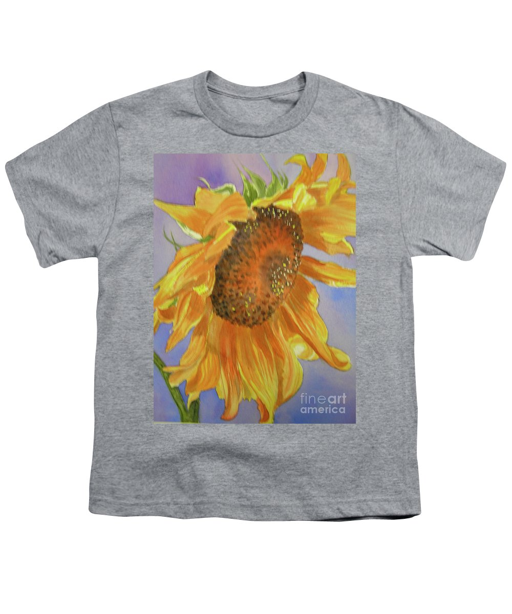 Sunflower Youth T-Shirt featuring the painting Sunflower by Midge Pippel