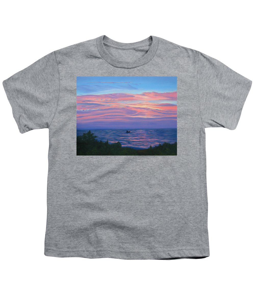 Seascape Youth T-Shirt featuring the painting Sunset Bay by Lea Novak
