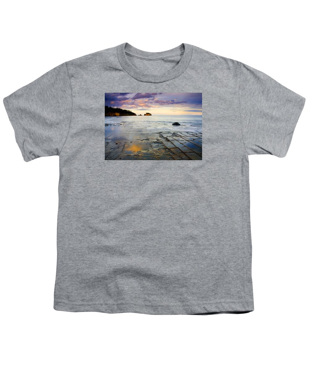 Tesselated Pavement Youth T-Shirt featuring the photograph Sunset Grid by Mike Dawson