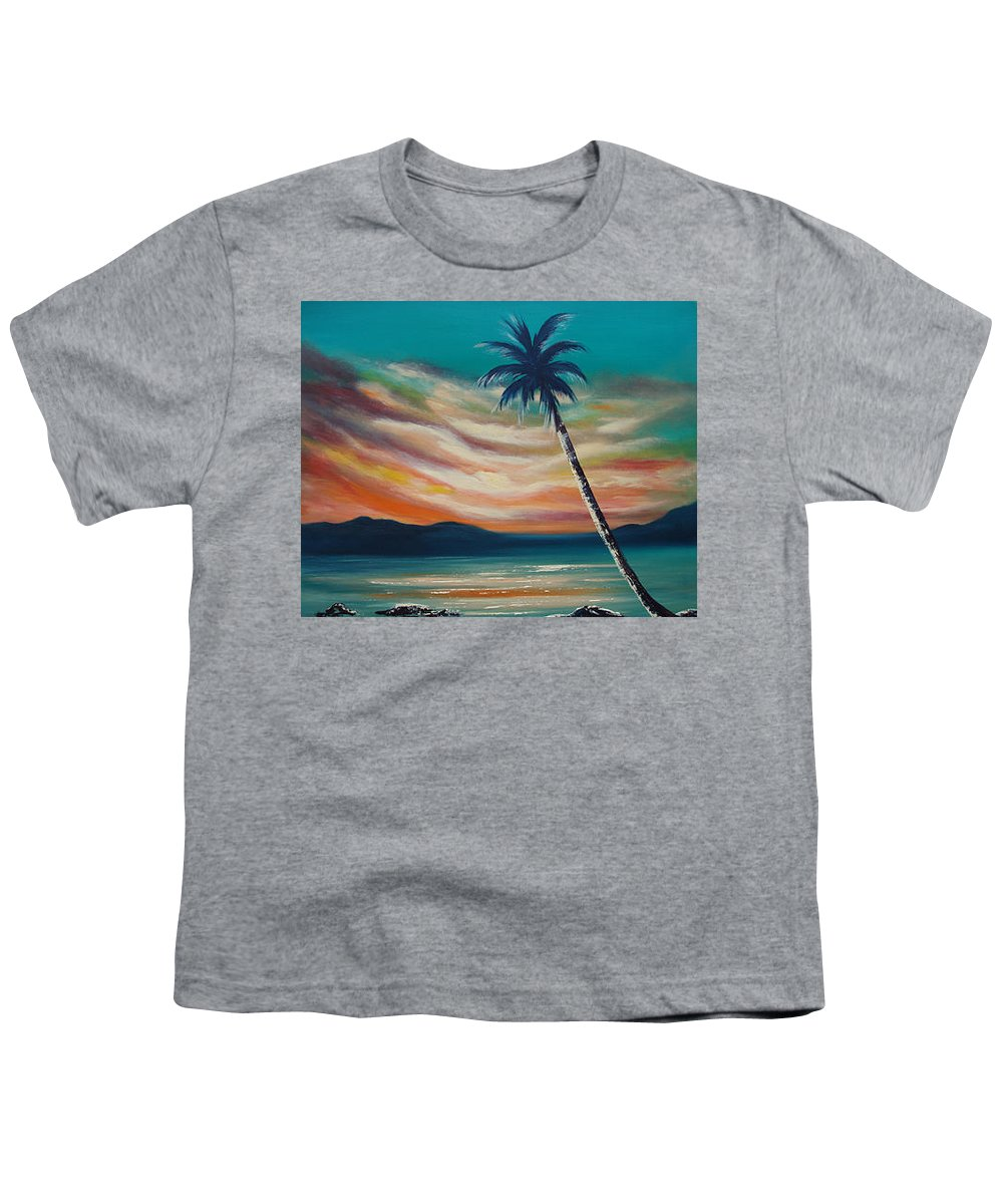 Sunset Youth T-Shirt featuring the painting Sunset In Paradise by Gina De Gorna