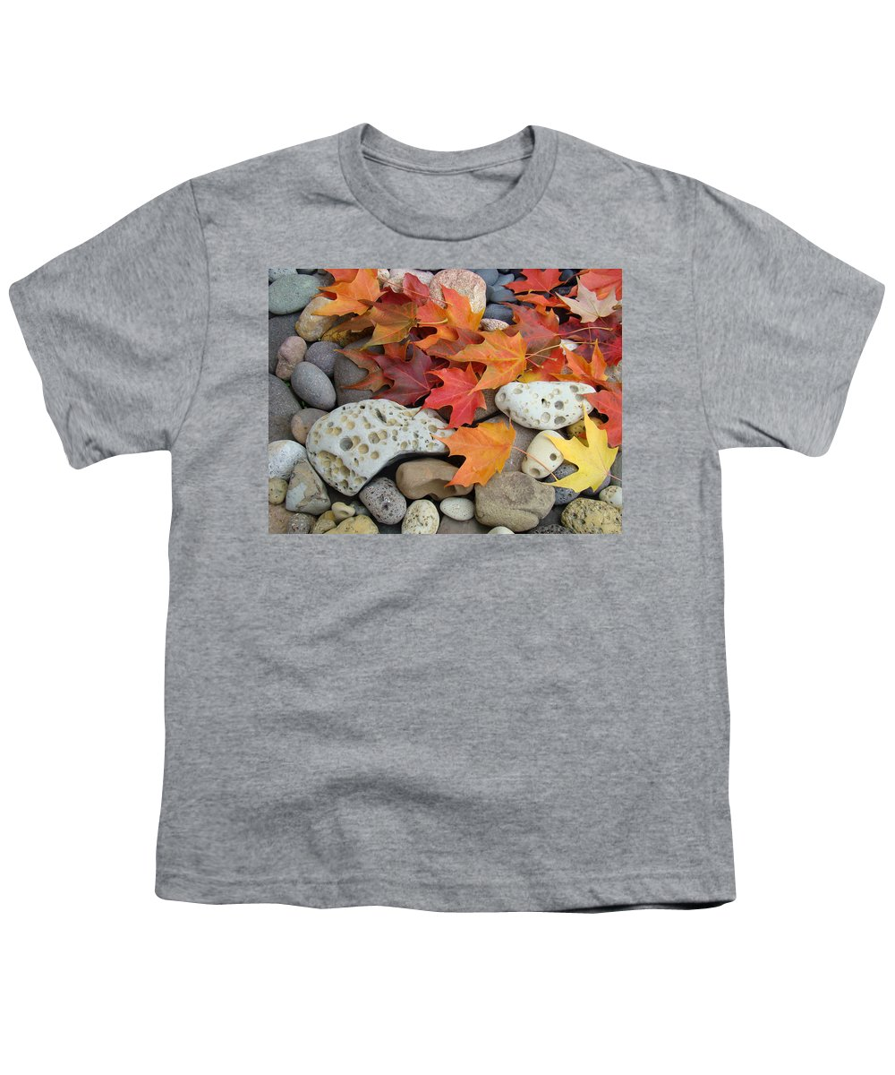 Art Youth T-Shirt featuring the photograph Sweet Autumn 1 Autumn Leaves Rock Designs Photography Digital Art Prints by Baslee Troutman