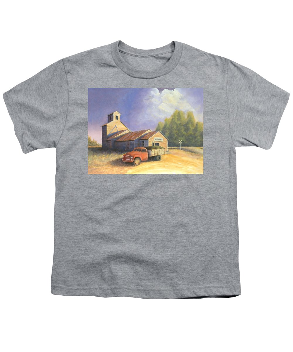 Nebraska Youth T-Shirt featuring the painting The Lisco Elevator by Jerry McElroy