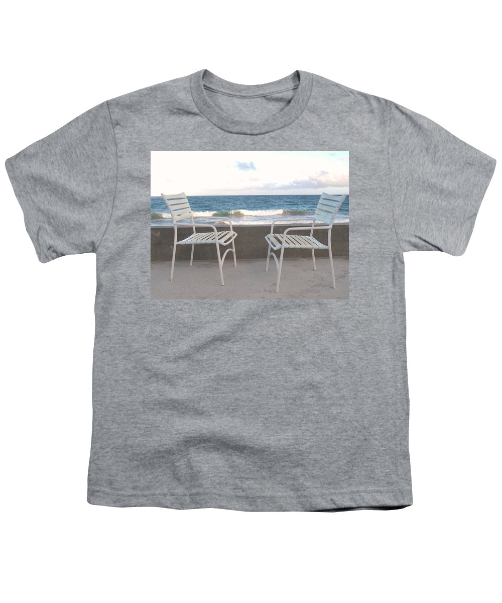 Seascape Youth T-Shirt featuring the photograph The Meeting by Ian MacDonald