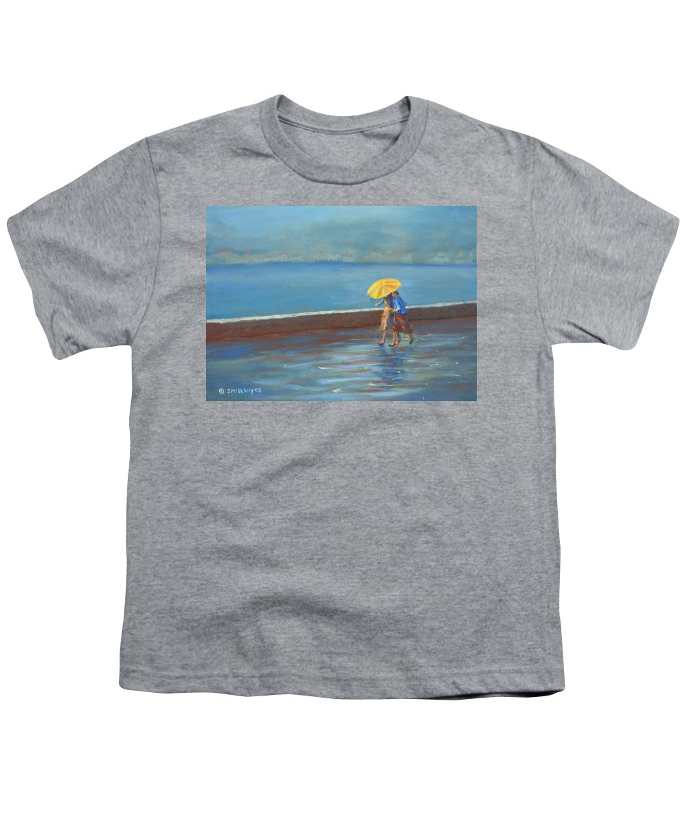 Rain Youth T-Shirt featuring the painting The Yellow Umbrella by Jerry McElroy