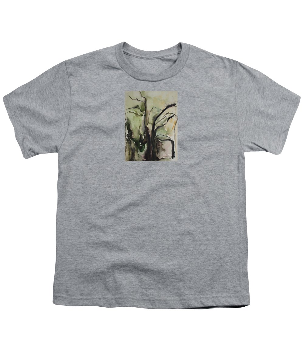 Tree Winter Abstract Original Painting Landscape Leila Atkinson Watercolor Wet On Wet Washes Trees Youth T-Shirt featuring the painting Tree Series V by Leila Atkinson