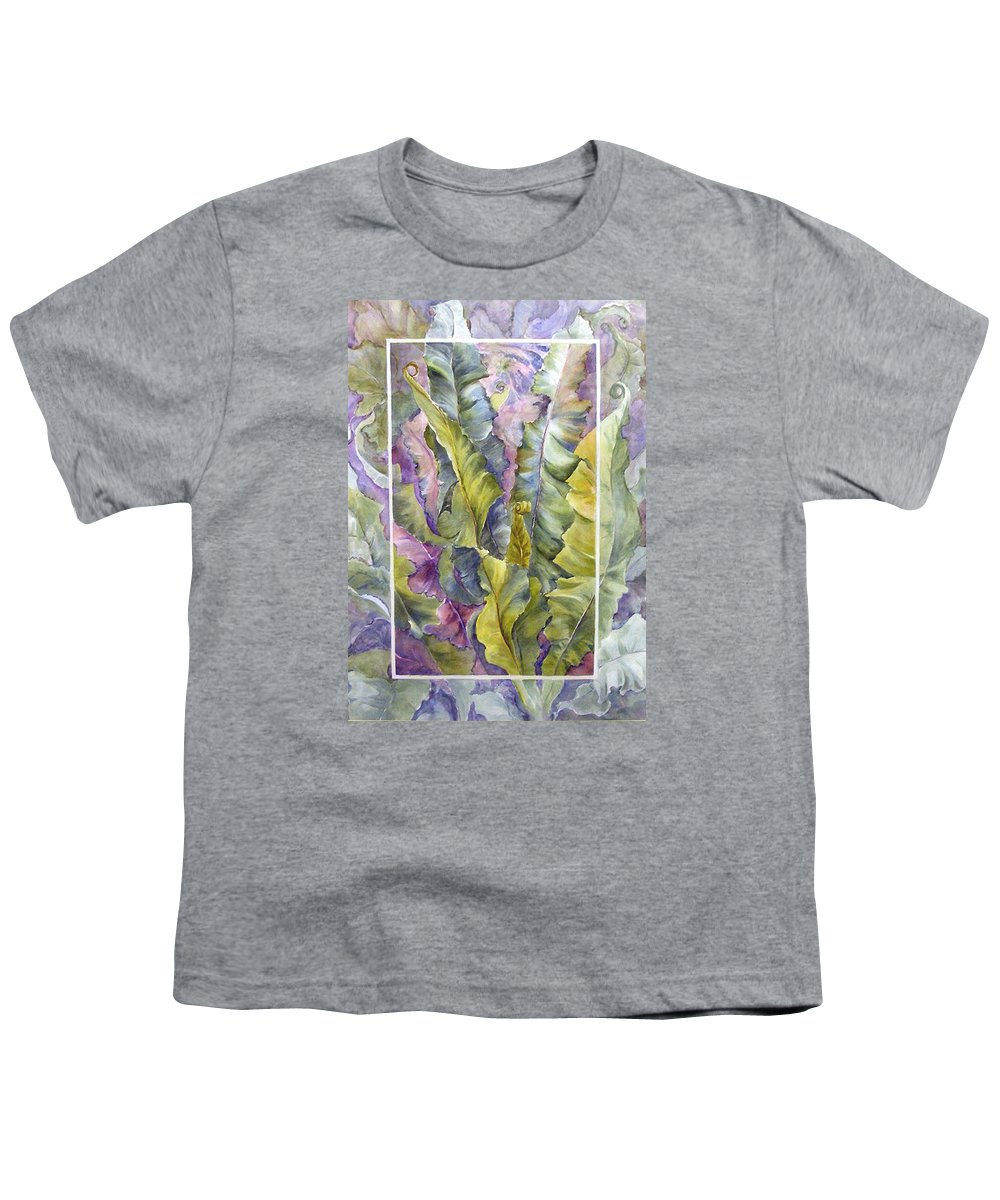 Ferns;floral; Youth T-Shirt featuring the painting Turns Of Ferns by Lois Mountz