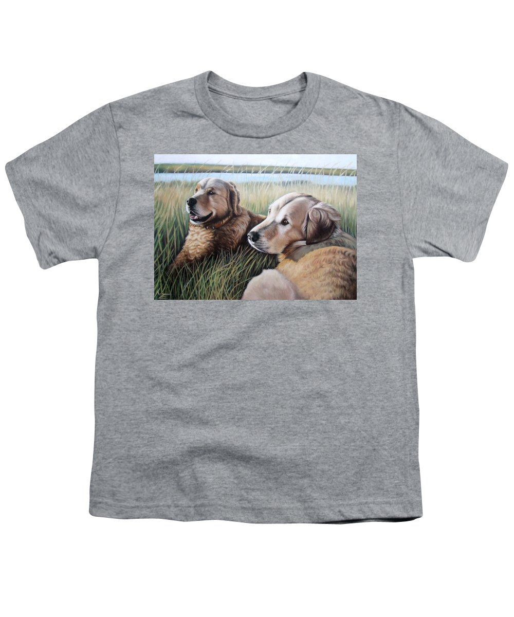 Dogs Youth T-Shirt featuring the painting Two Golden Retriever by Nicole Zeug