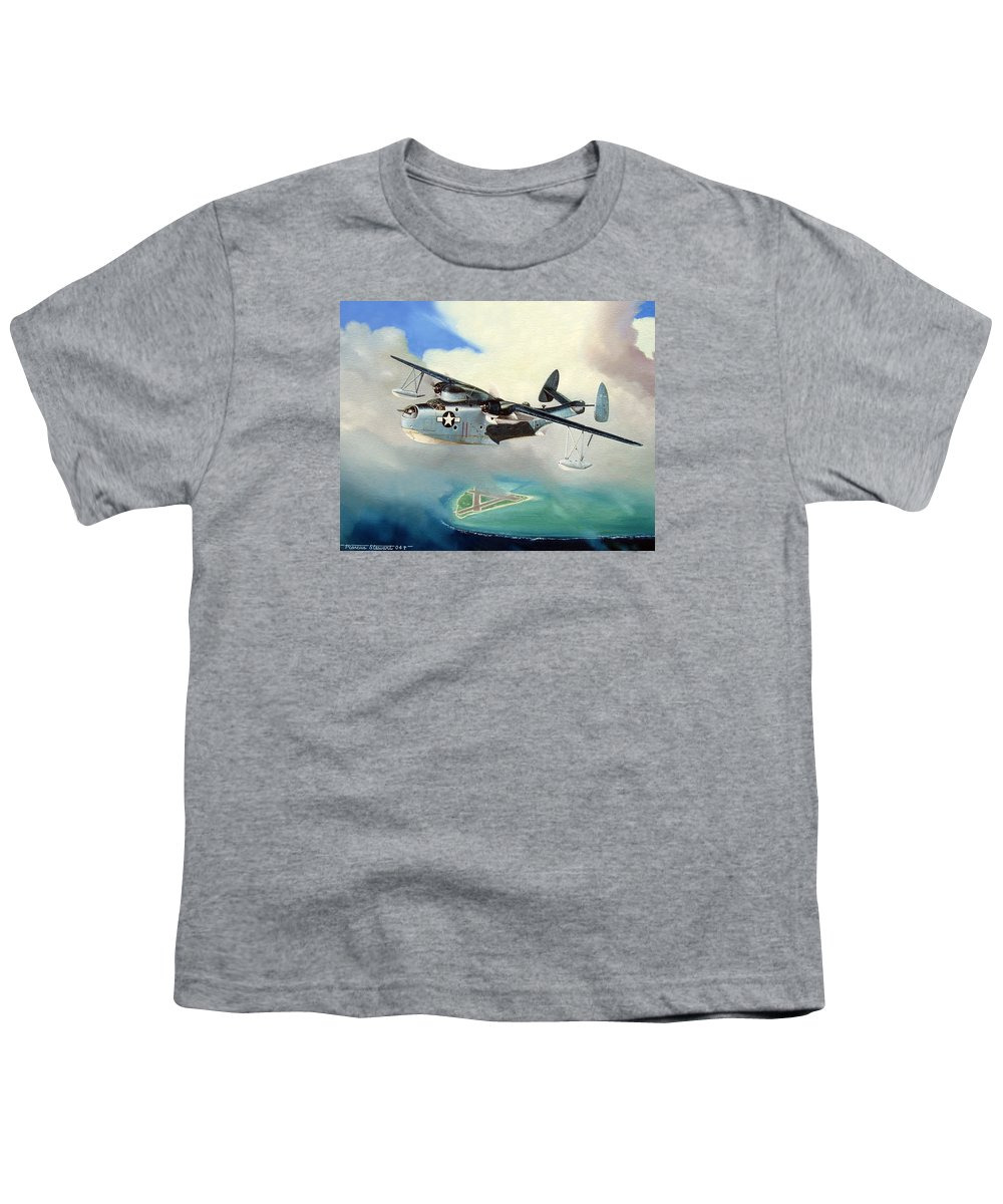 Military Youth T-Shirt featuring the painting Uncle Bubba's Flying Boat by Marc Stewart