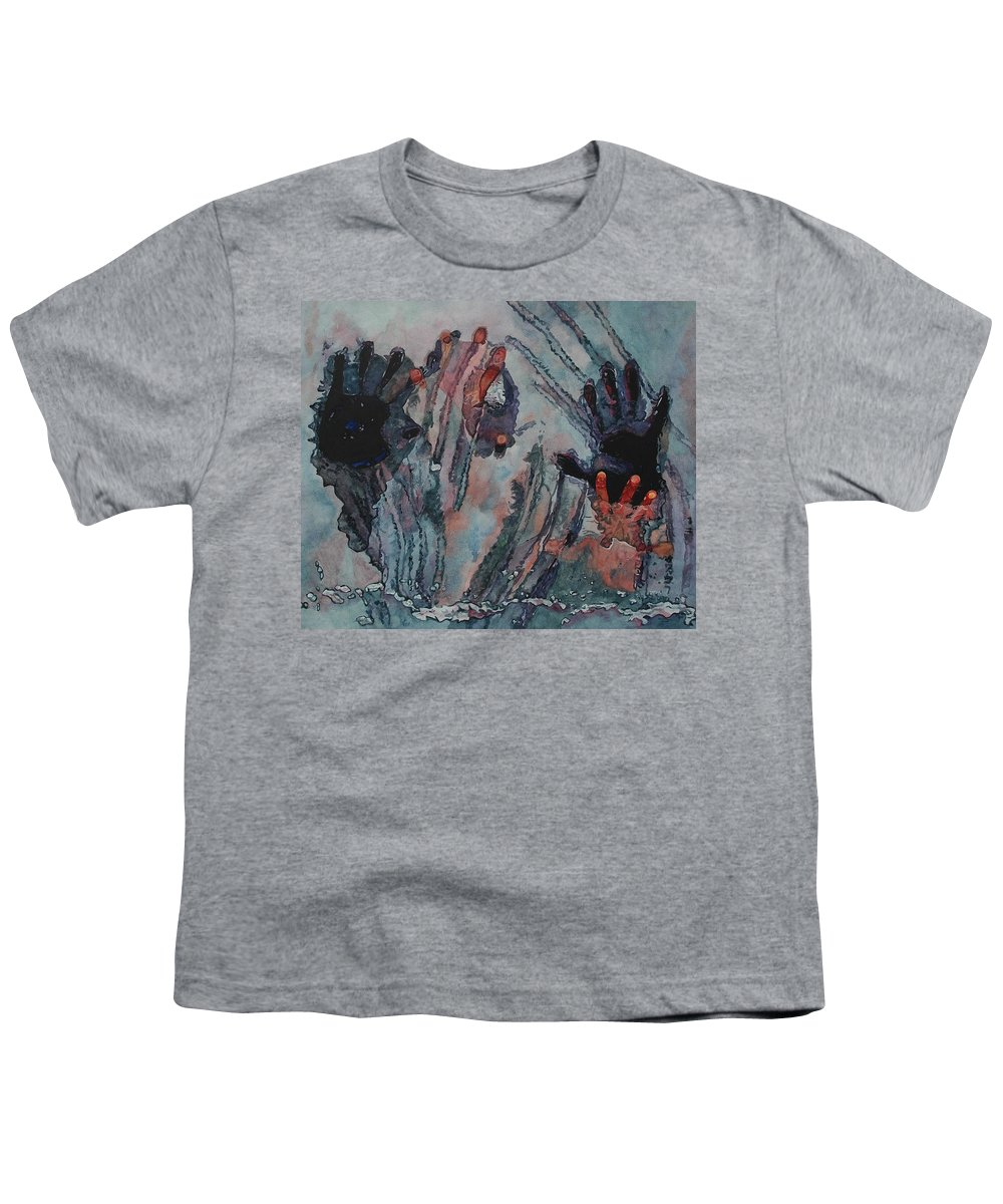 Underneath Youth T-Shirt featuring the painting Under Ice by Valerie Patterson