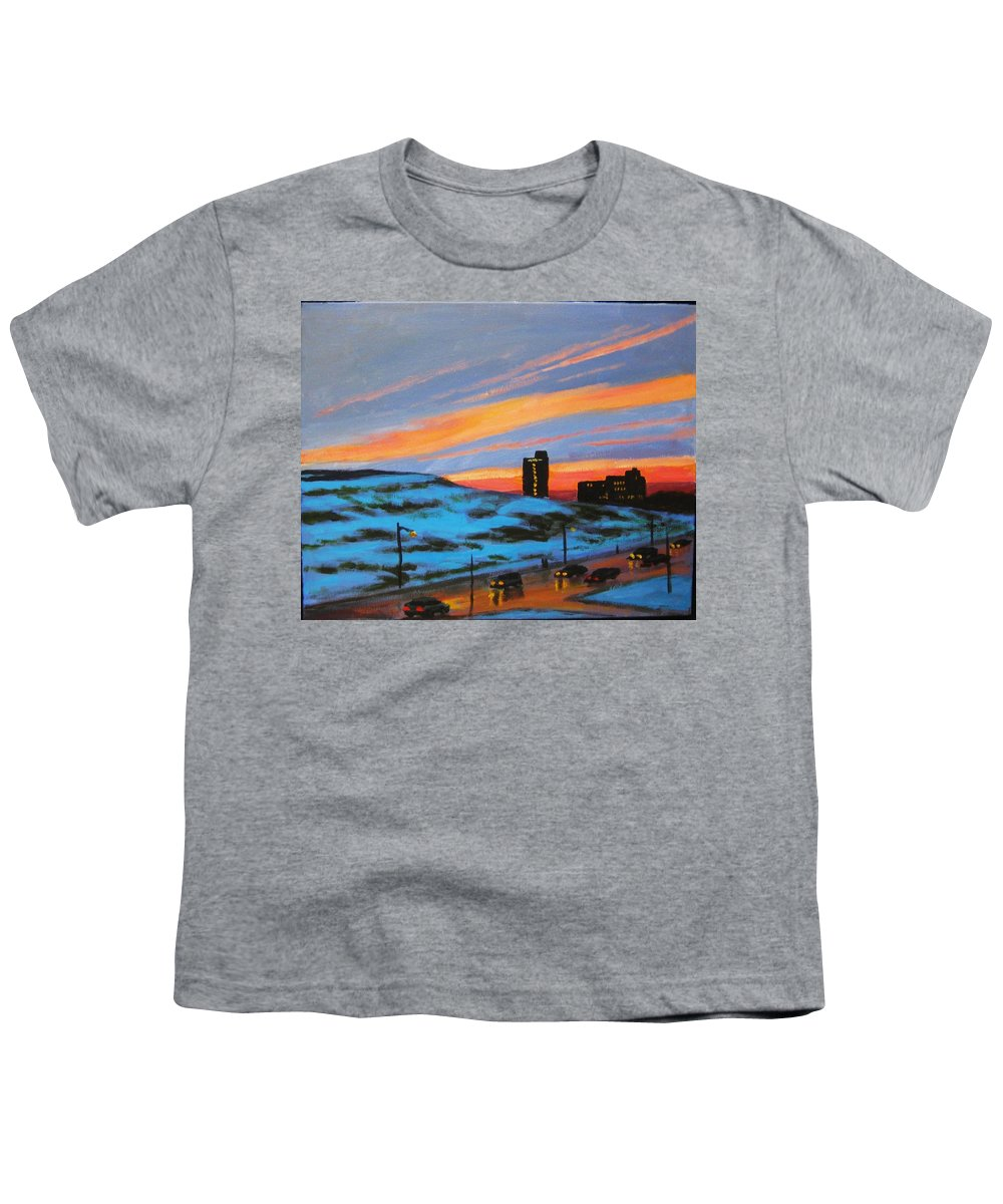 City At Night Youth T-Shirt featuring the painting View From My Balcony by John Malone