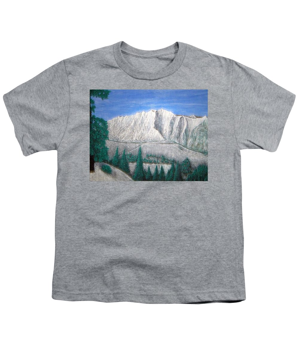 Snow Youth T-Shirt featuring the painting Viewfrom Spruces by Michael Cuozzo