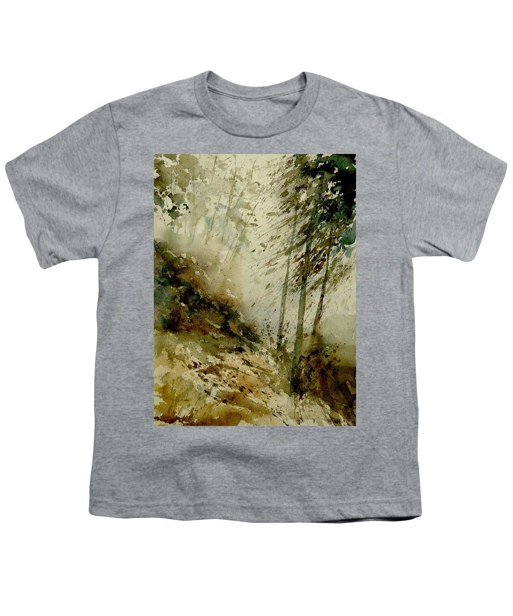 Landscape Youth T-Shirt featuring the painting Watercolor Misty Atmosphere by Pol Ledent