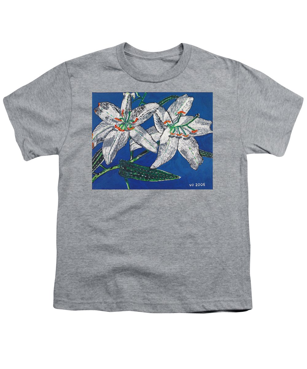 Flower Youth T-Shirt featuring the painting White Lilies by Valerie Ornstein