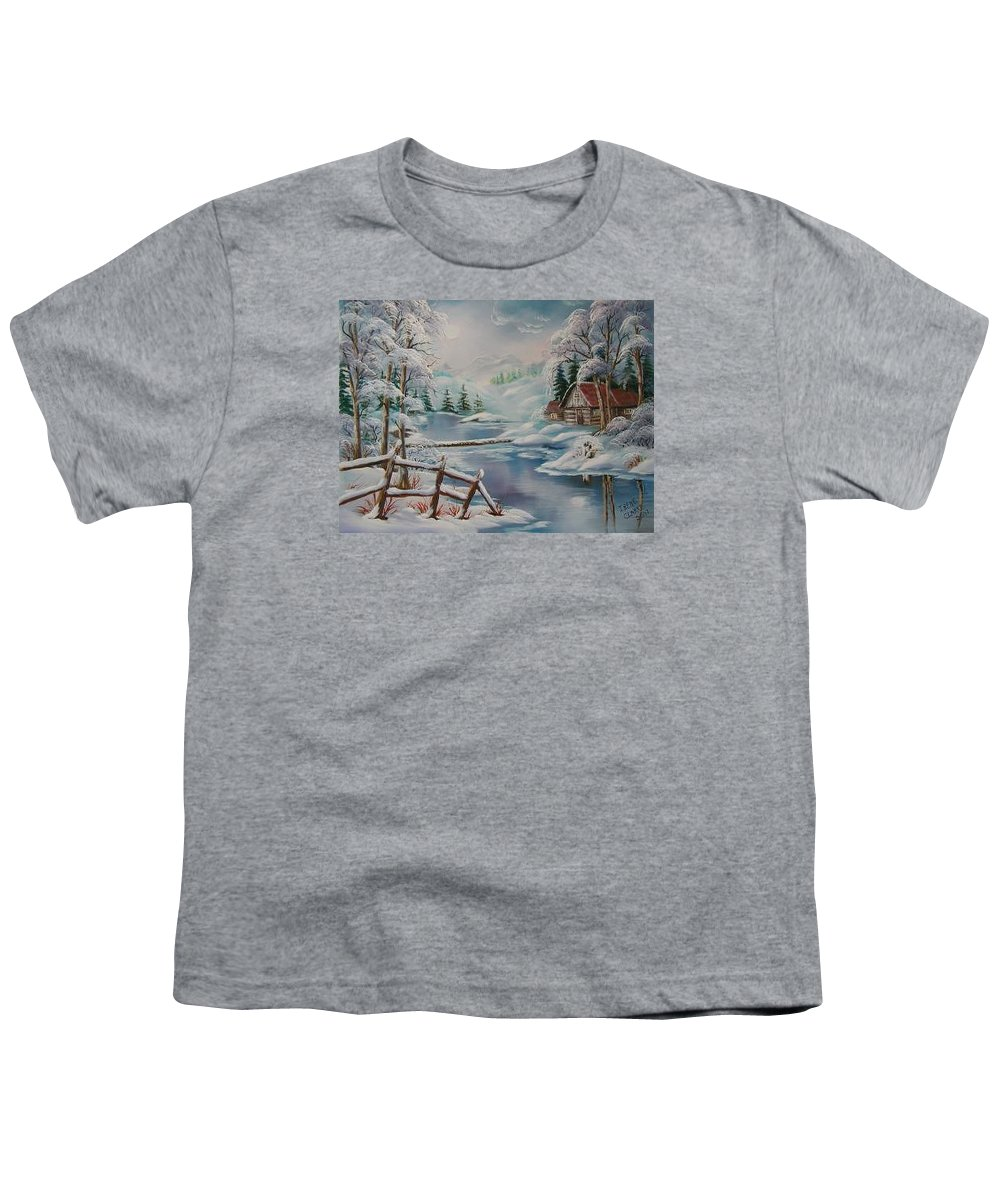 Winter Scapes Youth T-Shirt featuring the painting Winter In The Valley by Irene Clarke
