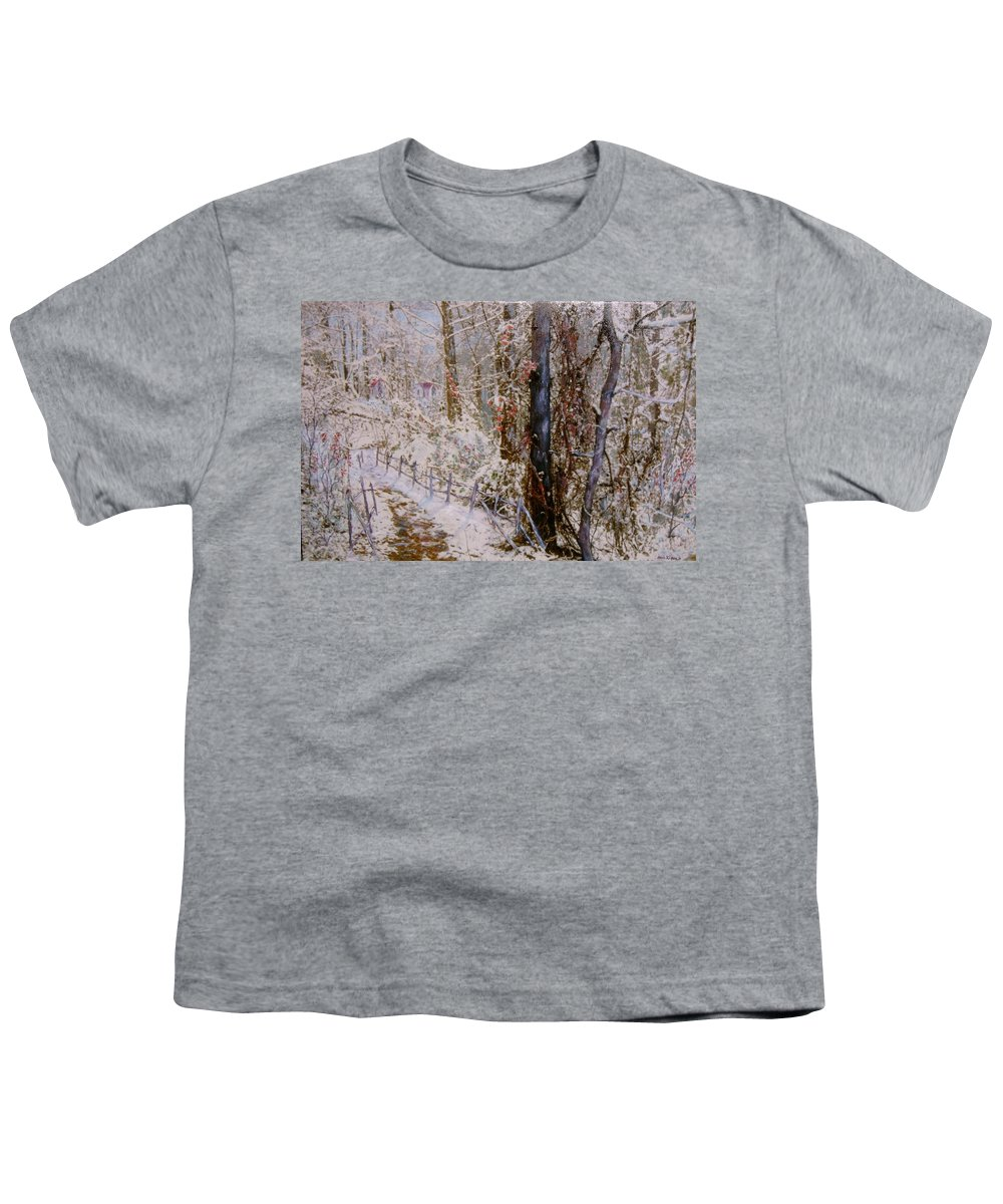 Snow; Trees Youth T-Shirt featuring the painting Winter Wonderland by Ben Kiger