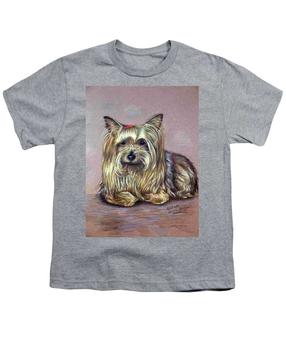 Dog Youth T-Shirt featuring the drawing Yorkshire Terrier by Nicole Zeug