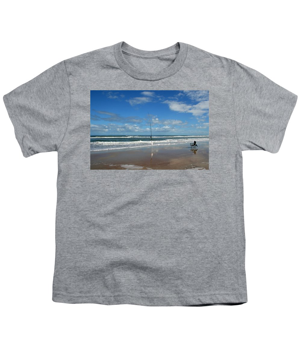 Fish Fishing Vacation Beach Surf Shore Rod Pole Chair Blue Sky Ocean Waves Wave Sun Sunny Bright Youth T-Shirt featuring the photograph You Could Have Been There by Andrei Shliakhau