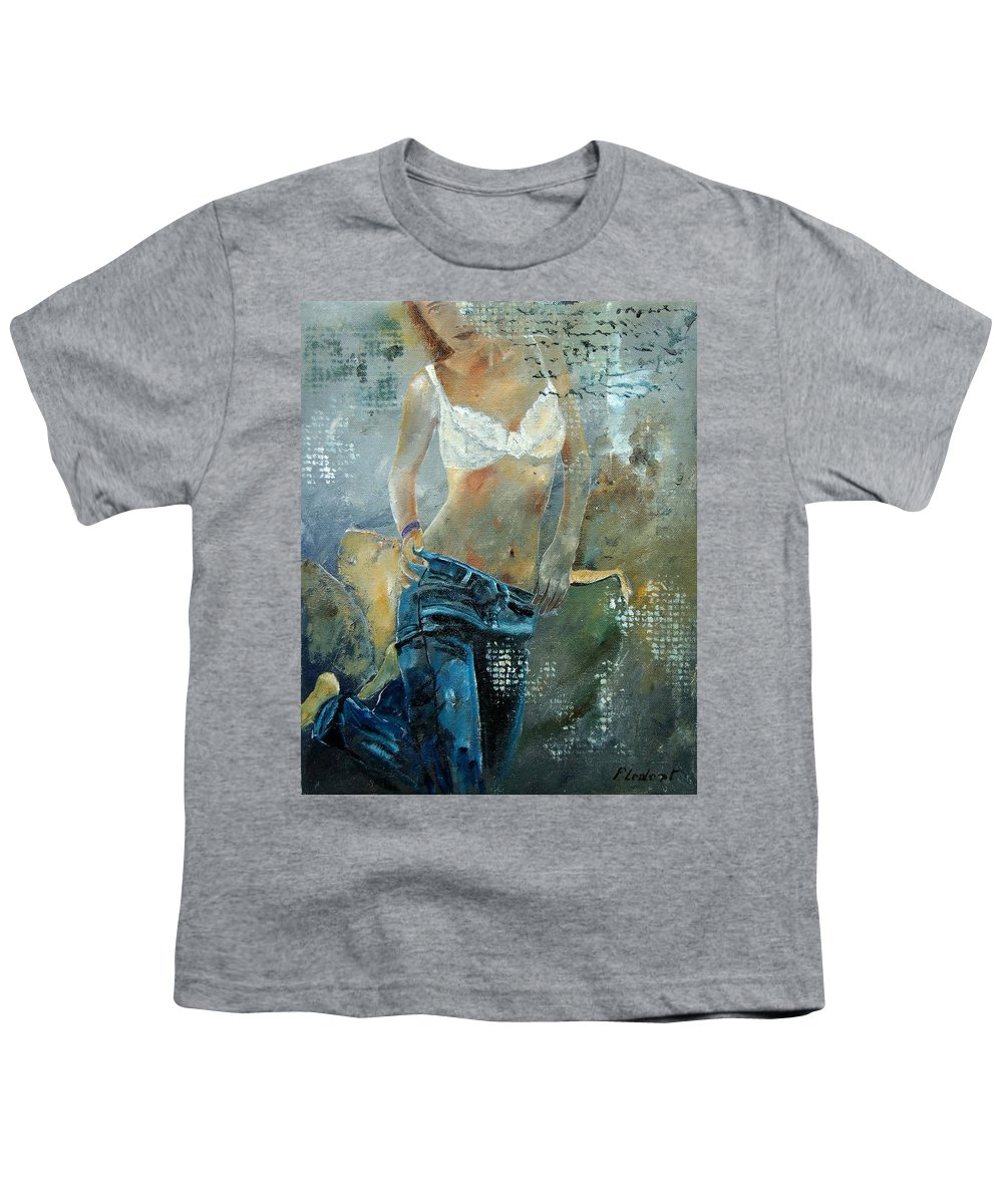 Girl Youth T-Shirt featuring the painting Young Girl In Jeans by Pol Ledent