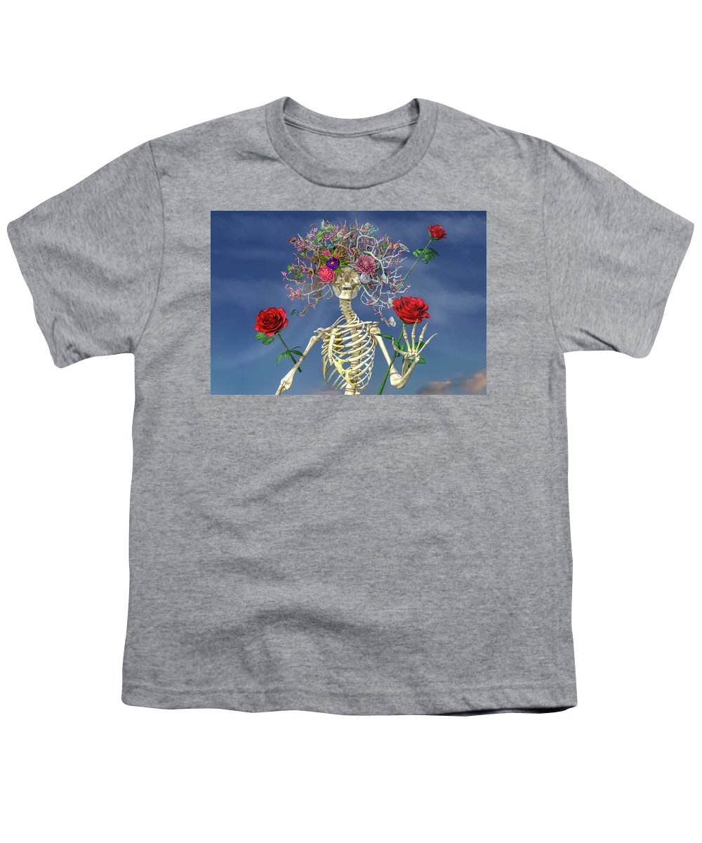 Skeleton Youth T-Shirt featuring the digital art Grateful Greetings And Good Times by Betsy Knapp